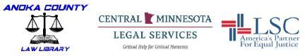 Logos for Anoka County Law Library, Central Minnesota Legal Services, and LSC