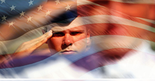 Banner with a service member saluting with the American flag waving around him